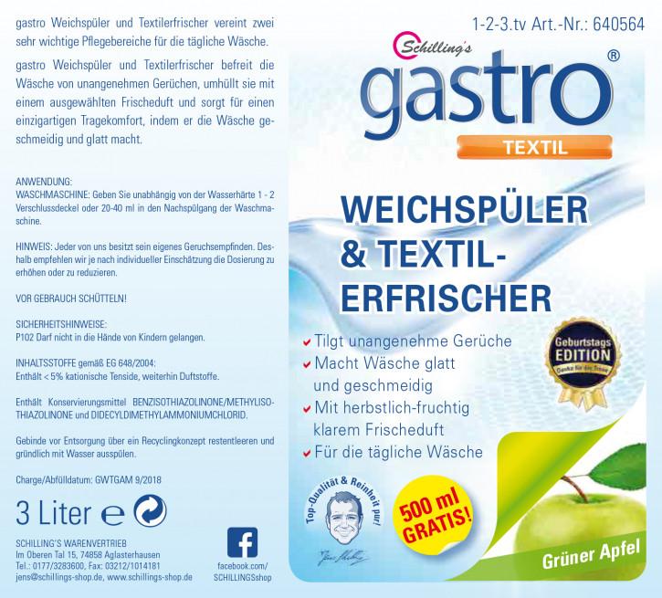 Gastro Weichspüler Konzentrat 3l Grüner Apfel