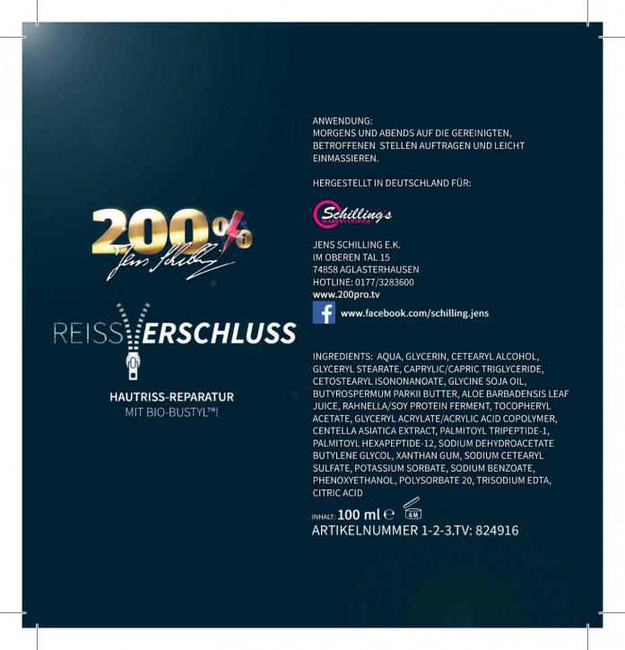 200% Jens Schilling - Reißverschluss Narbencreme 100ml mit Bio-Bustyl